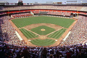 Angel Stadium - The Angels play at an enclosed Anaheim Stadium, 1991