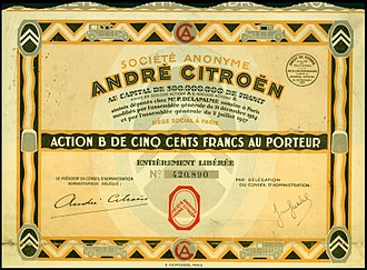 Citroën - Share of the S. A. André Citroën, issued 30. September 1927