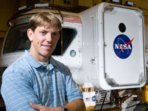 Andrew Abercromby - Andrew Abercromby in front of Lunar Excursion Vehicle.
