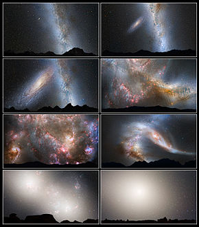simulation de la collision de la galaxie d'Andromède avec la Voie Lactée vue de la Terre