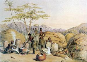 Nguni homestead - Beer-brewing at a Zulu umuzi, c. 1849.