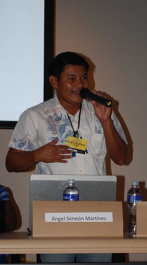 Pech people - Pech Ángel Simeón Martínez representing his people at a conference at the Universidad Nacional Autónoma de Honduras.