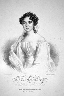 Anna Schechner als Weiße Dame in François-Adrien Boieldieus La dame blanche, Lithographie von Josef Lanzedelli d. Ä., um 1830 (Quelle: Wikimedia)