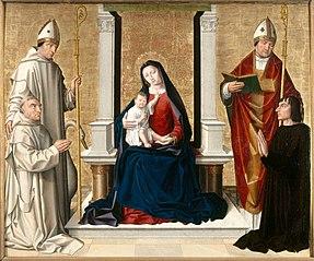 La Vierge et l'Enfant entre saint Hugues, un saint évêque et un donateur chartreux