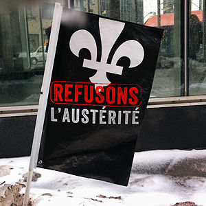 Anti-austerity movement - Flag commonly used in demonstrations against austerity in Quebec in 2015 and 2016