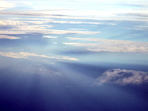 Anticrepuscular rays - Anticrepuscular rays converging to the antisolar point, viewed from above