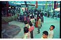 Apatosaurus with Visitors - Dinosaurs Alive Exhibition - Science City - Calcutta 1995-June-July 414.JPG
