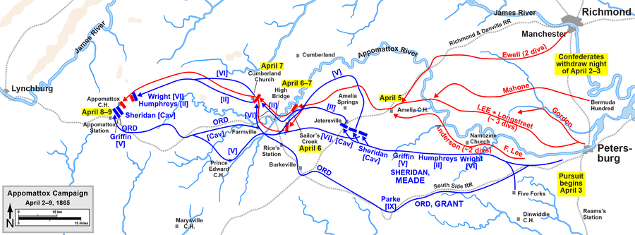 Lee's retreat in the Appomattox Campaign, April 3-9, 1865 Appomattox Campaign Overview.png
