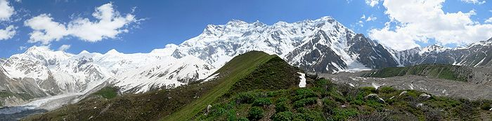 The view of Nanga Parbat, taken 1 kilometre (0.62 mi) from the base camp.