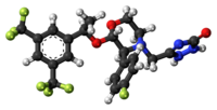 Ball-and-stick model of the aprepitant molecule
