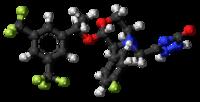 Pilk-kaj-bastona modelo de la aprepitant-molekulo