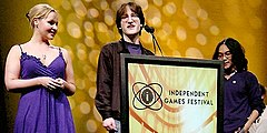 Jenna Sharpe, Alec Holowka and Derek Yu accepting the grand prize at the 2007 Independent Games Festival