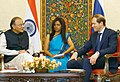 Arun Jaitley having one-to-one talks with the Minister of Industry and Trade of Russian Federation, Mr. Denis Manturov before the inaugural session of the India-Russia Military Industrial Conference, in New Delhi.jpg