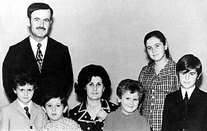 Al-Assad family - President Hafez al-Assad with his family in the early 1970s. Left to right: Bashar, Maher, Mrs Anisa Makhlouf, Majid, Bushra, and Bassel