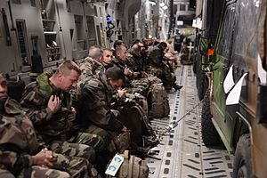 Operation Serval -  French troops prepare for take-off inside a U.S. Air Force C-17 Globemaster III cargo aircraft in Istres, France.