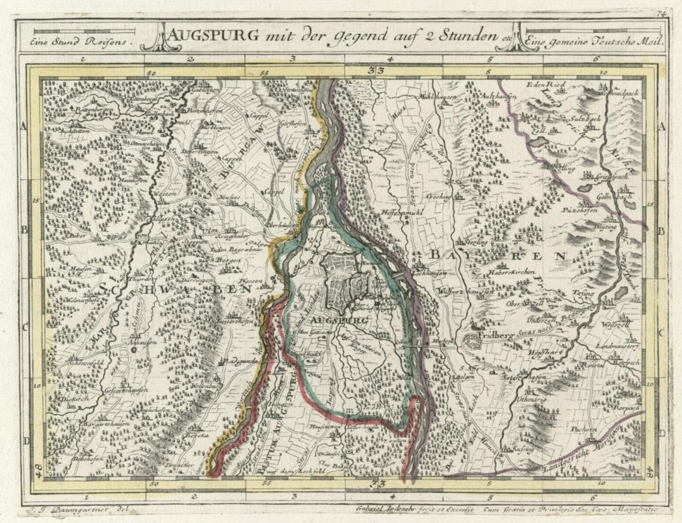 Augsburg map 1705-1720