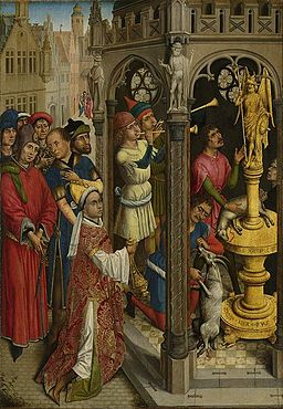 Augustine sacrificing to an idol of the Manichaeans