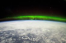 The aurora borealis as viewed from the International Space Station