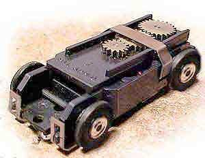 "Slot car - An Aurora ""Thunderjet-500"" HO chassis and motor, 1963-1971."