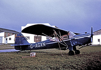 Auster - Auster Alpha parked in front of Auster's original assembly facilities at Rearsby in 1966