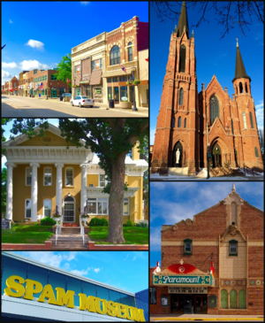 Clockwise from top: Downtown Austin, St. Augustine's Church, Paramount Theater, Spam Museum, Hormel Historic Home