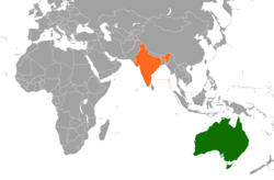 Map indicating locations of Australia and India