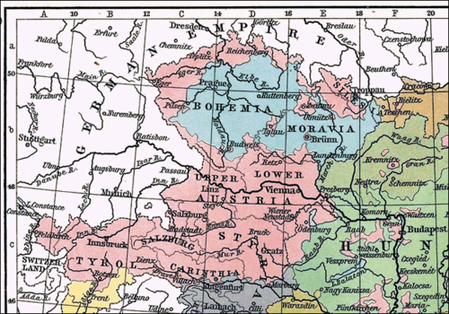 Map showing Austrian German-inhabited areas (in rose) in western Austro-Hungarian Empire in 1911 Austrian Germans in western Austro-Hungarian Empire.gif
