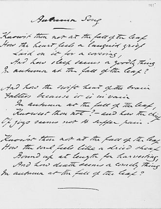 Dante Gabriel Rossetti - Original manuscript of Autumn Song by Rossetti, 1848, Ashley Library