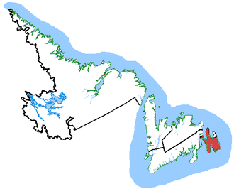 Avalon (electoral district) - Avalon in relation to other Newfoundland and Labrador ridings (2003 boundaries)