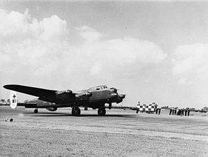 Gee-H (navigation) - G-H Leader Avro Lancaster B Mark III of No. 467 Squadron RAAF as it begins its take-off run at RAF Waddington, August 1944