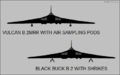 Avro Vulcan B.2 silhouettes showing external stores (sample pods and AGM-45).png
