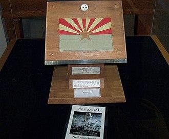 Apollo 11 lunar sample display - Image: Az flag