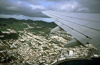 Ponta Delgada - A view of the commercial-industrial centre of Ponta Delgada from a B737 departing John Paul II International Airport