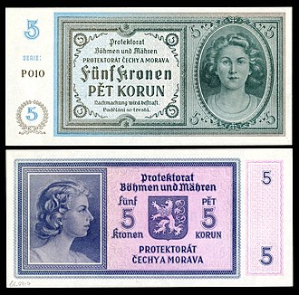 Bohemian and Moravian koruna - Image: BOH&MOR 4 Protectorate of Bohemia and Moravia 5 Korun (1940)ND