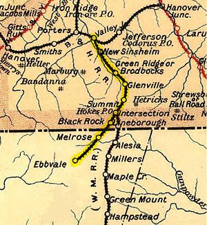 Bachman Valley Railroad - Image: Bachman Valley Railroad map