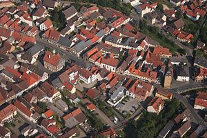 Bad Staffelstein - Aerial photo of the town center, notice the old town hall and the Stadtturm