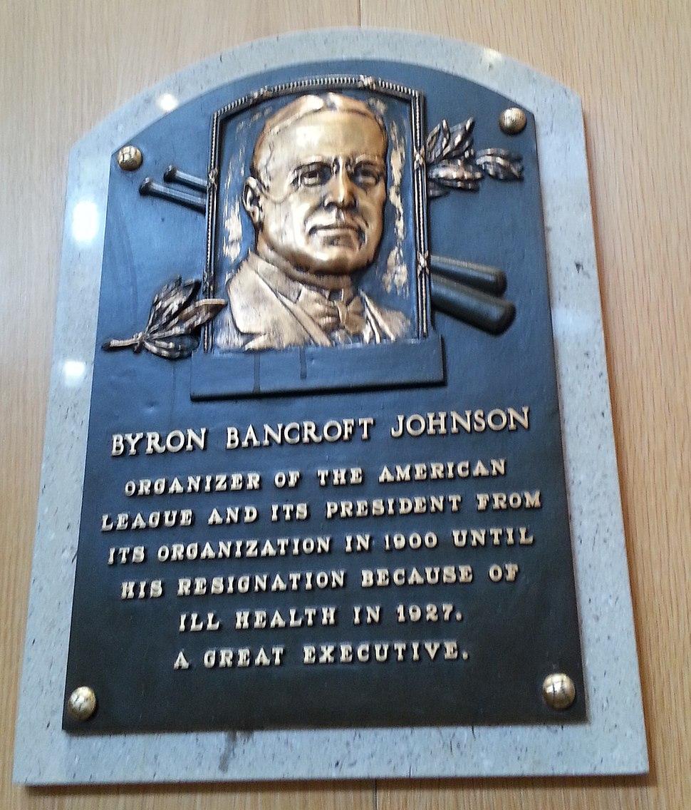 Ban Johnson HOF plaque