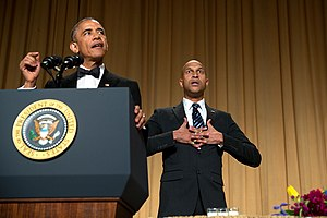 "Key & Peele - Key performing as Luther, President Obama's ""anger translator"", at the 2015 White House Correspondents Dinner."