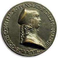 Bartolomeo melioli, medaglia di chiara gonzaga, recto.JPG