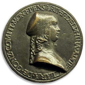 Clara Gonzaga - Medal portrait of Clara Gonzaga by Bartolomeo Melioli
