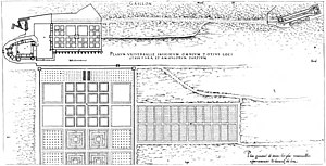 Château de Gaillon - General plan of 1576 with the château on the left, the gallery garden by Mercogliano behind it, the lower level garden at the bottom, and the Maison Blanche in the upper right