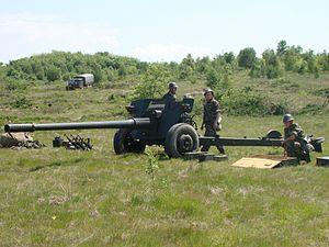 100 mm anti-tank gun M1977 - A407 gun of the 612th Anti-tank Battalion.