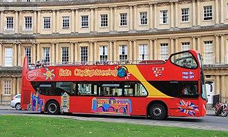 Bath Bus Company - Unvi Urbis-bodied Volvo B9TL tour bus in The Circus, Bath in 2015