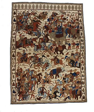 Battle of Karnal - A dramatised scene from the battle woven into a Persian rug, (note the camels in the top corner of the rug with their backs on fire, referencing the myth of the Persian army using this tactic to scare the Mughal war elephants).