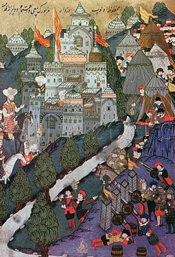 The Battle of Nicopolis in 1396 marked the end of medieval Bulgarian statehood Battle of Nicopolis, 1396, Facsimile of a Miniature Conserved in the Topkapi Museum in Istanbul-.jpg