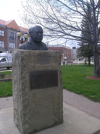Max Aitken, 1st Baron Beaverbrook - Bust of Lord Beaverbrook, where his ashes are deposited, in the town square of Newcastle, Miramichi, New Brunswick (IR Walker 2008)