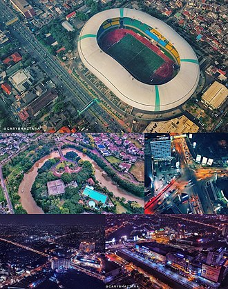 Bekasi - From top to mid-left in clockwise sequence; Top: Patriot Candrabhaga Stadium, Mid-right: Bekasi Junction, Bottom left and right: Malls and its surrounding skyline, Mid-left: Pekayon City.