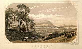 History of Belfast - Belfast viewed from the hills in 1852. The new Queen's Bridge across the Lagan can be seen to the right.