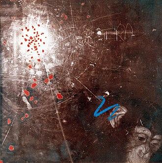 "Victor Sloan -  ""Belfast Zoo III"", silver gelatin print, toner, oil pastel and torn paper, 25 cm x 25 cm, 1983"