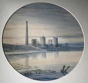 Losh, Wilson and Bell - Image: Bell Ironworks at Port Clarence Teesside watercolour by John Bell (1814 1886)